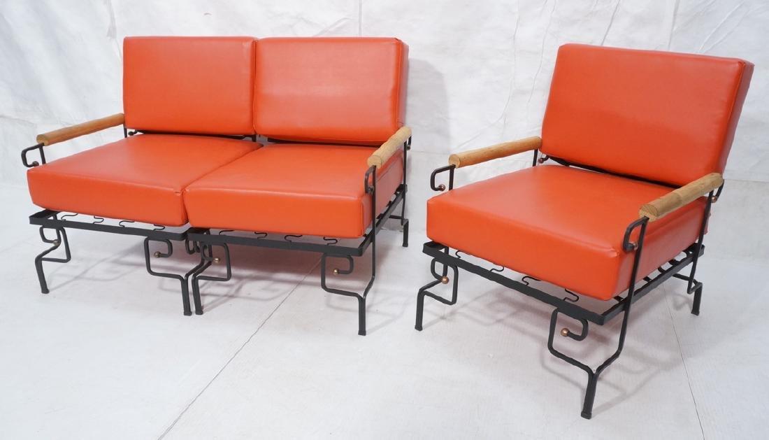 3pc Black Iron Lounge Chair, Love Seat.  Metal ta