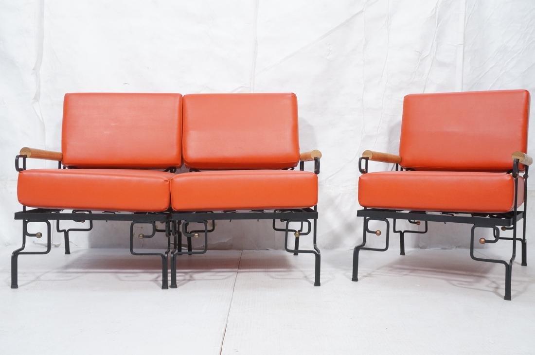 3pc Black Iron Lounge Chair, Love Seat.  Metal ta - 2