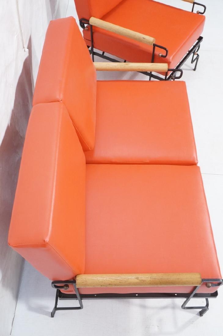 3pc Black Iron Lounge Chair, Love Seat.  Metal ta - 4