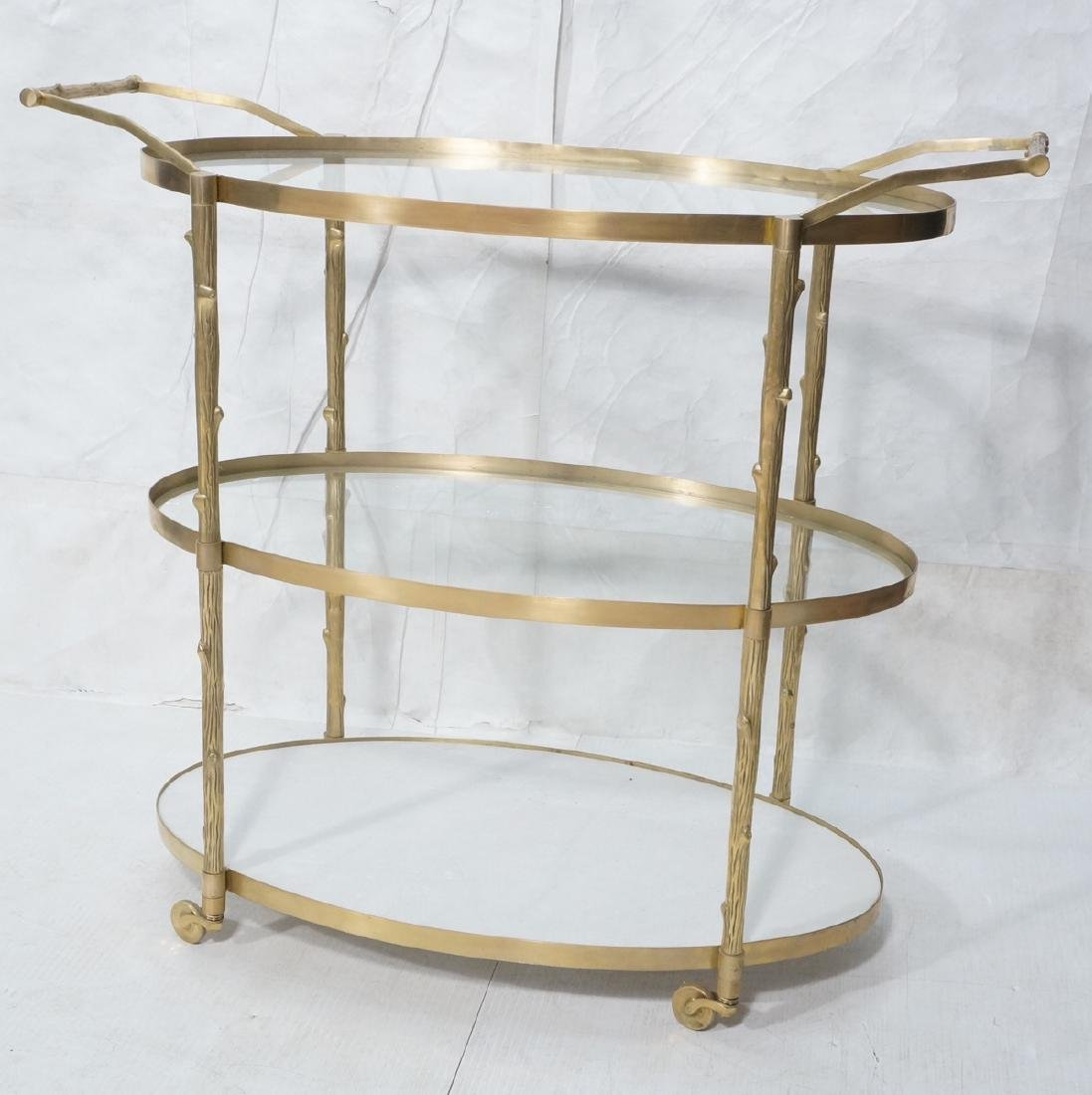 Modern Brass Faux Bois Rolling Bar Cart. 3 oval t