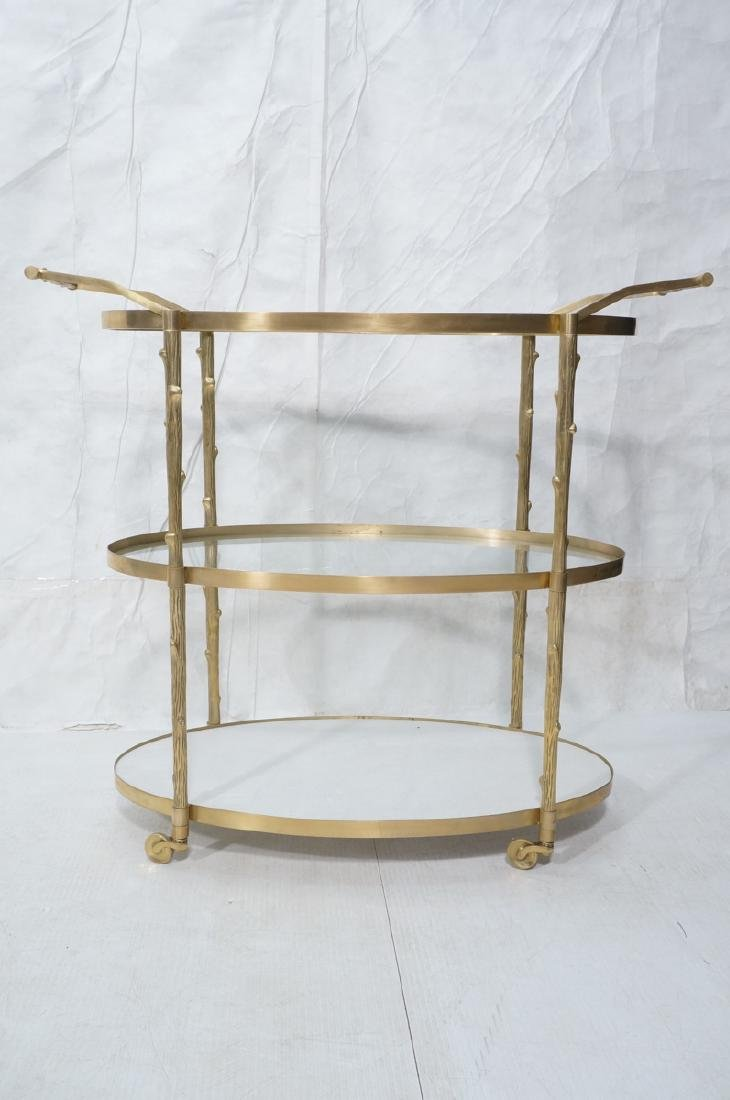 Modern Brass Faux Bois Rolling Bar Cart. 3 oval t - 2