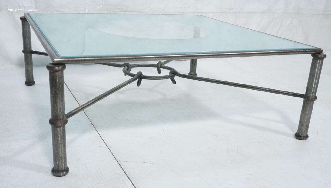 Large Square Metal Frame Cocktail Table. Banded m