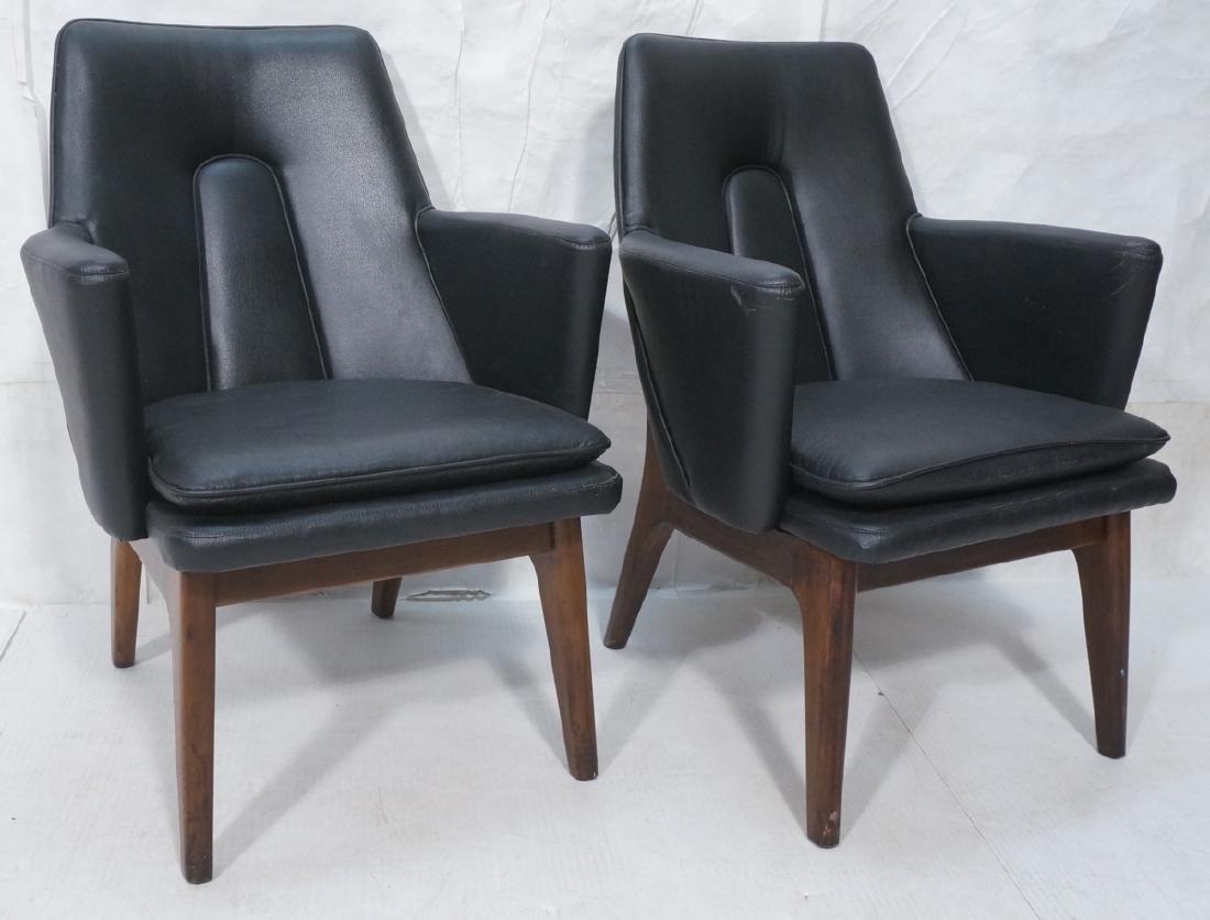 Pr Black Vinyl Tall Back Lounge Chairs Bowed Arms