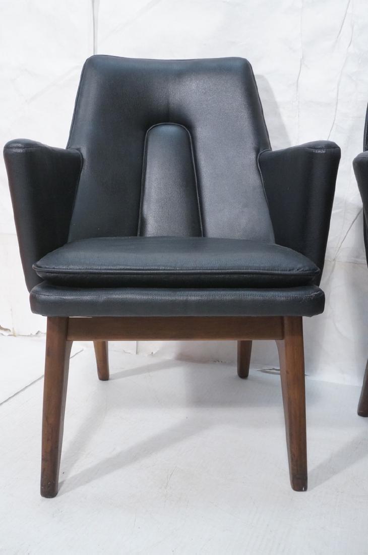 Pr Black Vinyl Tall Back Lounge Chairs Bowed Arms - 2