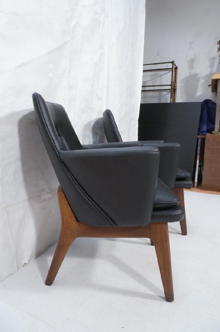 Pr Black Vinyl Tall Back Lounge Chairs Bowed Arms - 3