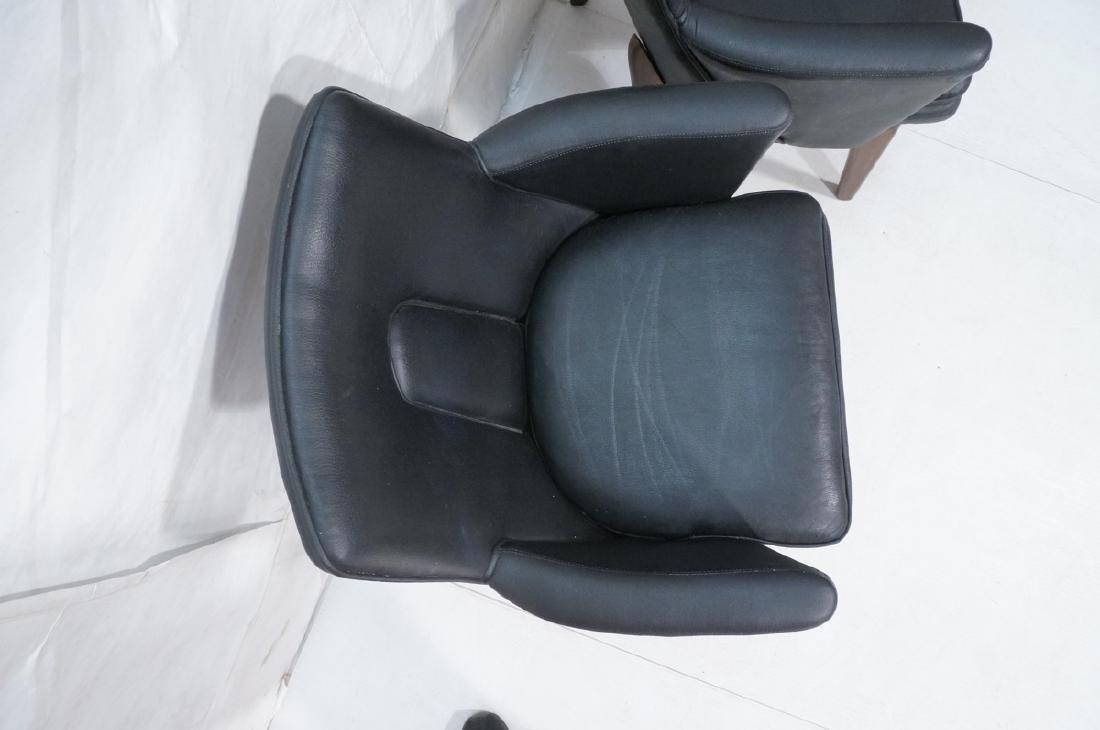 Pr Black Vinyl Tall Back Lounge Chairs Bowed Arms - 4