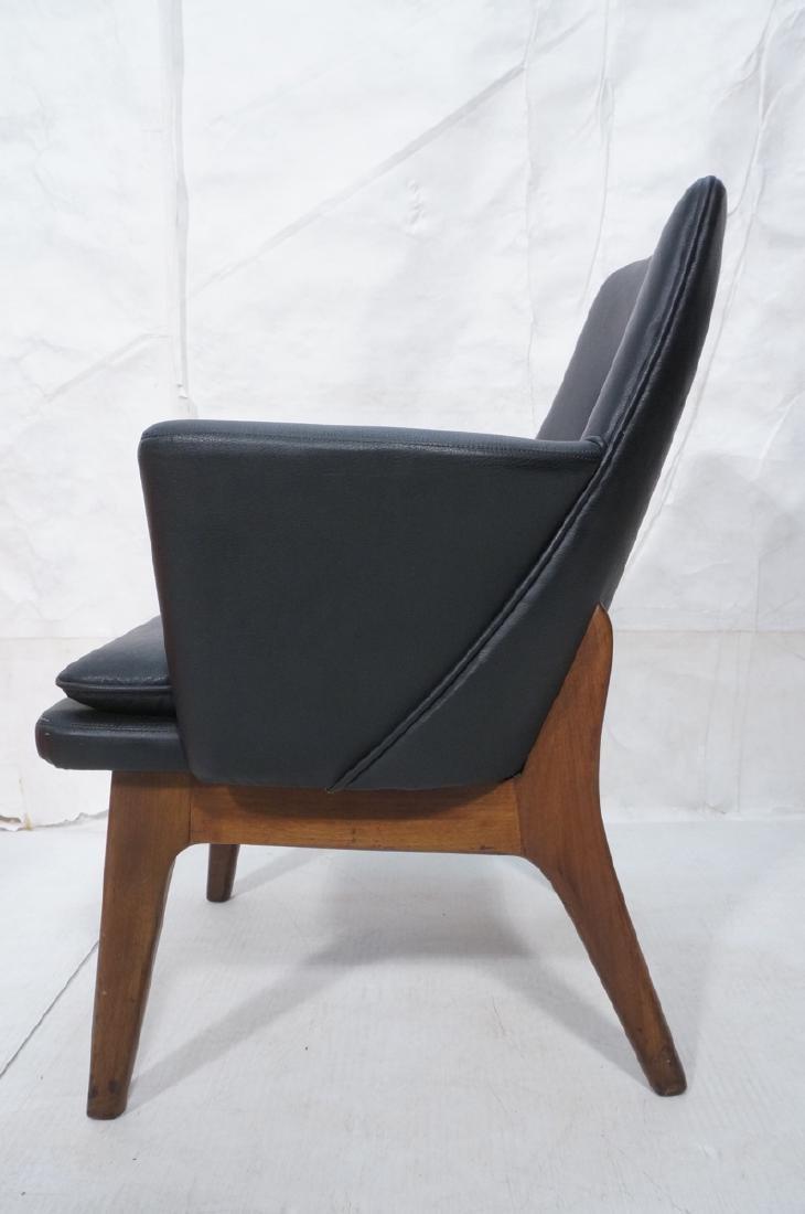 Pr Black Vinyl Tall Back Lounge Chairs Bowed Arms - 5