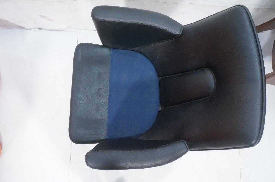Pr Black Vinyl Tall Back Lounge Chairs Bowed Arms - 6