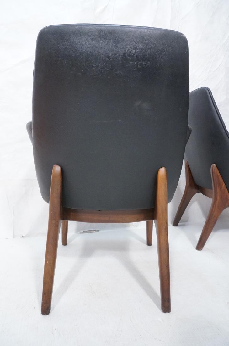 Pr Black Vinyl Tall Back Lounge Chairs Bowed Arms - 7