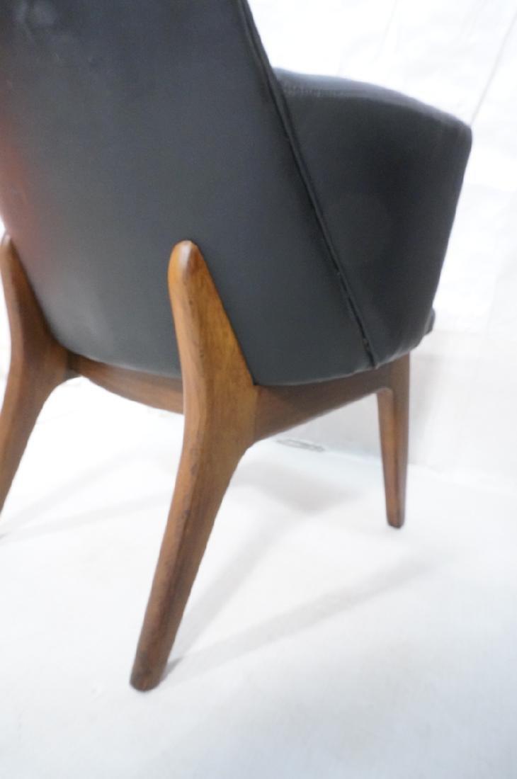 Pr Black Vinyl Tall Back Lounge Chairs Bowed Arms - 8