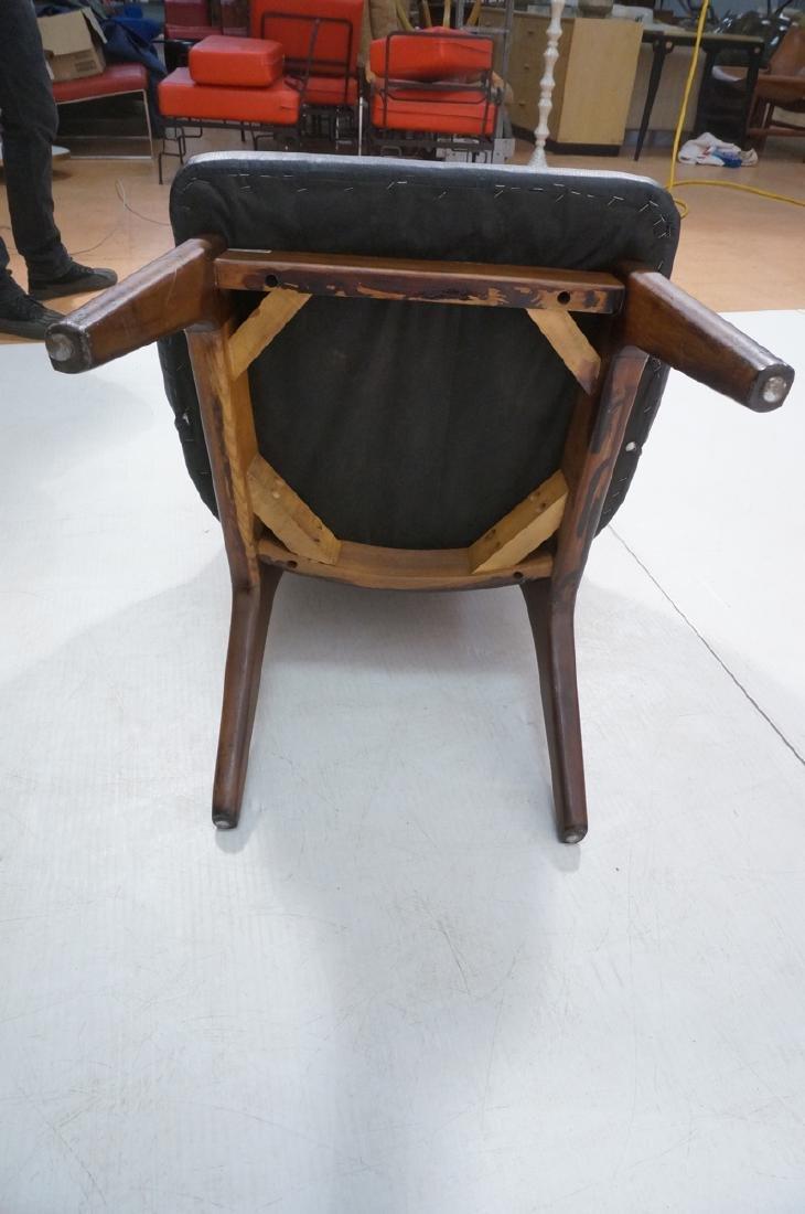 Pr Black Vinyl Tall Back Lounge Chairs Bowed Arms - 9