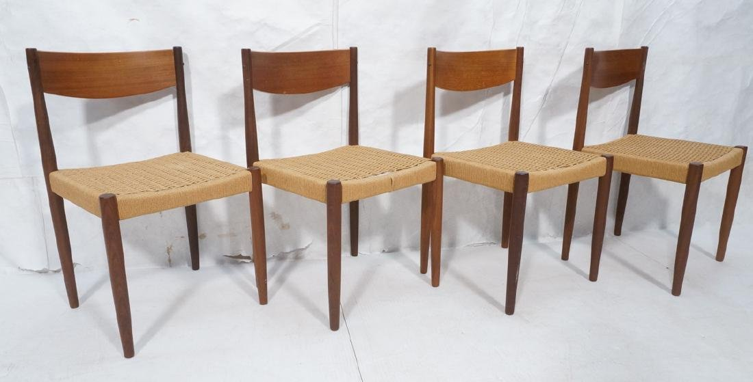 Set 4 Danish Modern Teak Dining Chairs. Woven rus