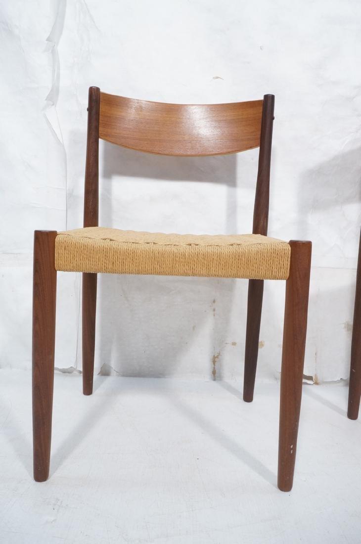 Set 4 Danish Modern Teak Dining Chairs. Woven rus - 2