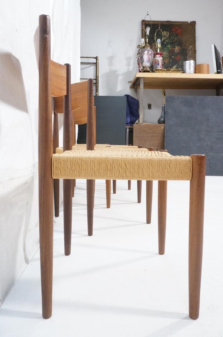 Set 4 Danish Modern Teak Dining Chairs. Woven rus - 3