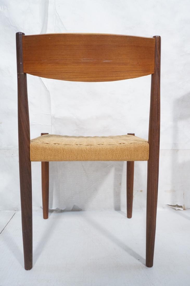 Set 4 Danish Modern Teak Dining Chairs. Woven rus - 4