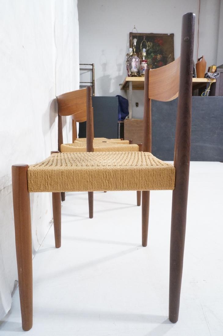 Set 4 Danish Modern Teak Dining Chairs. Woven rus - 6