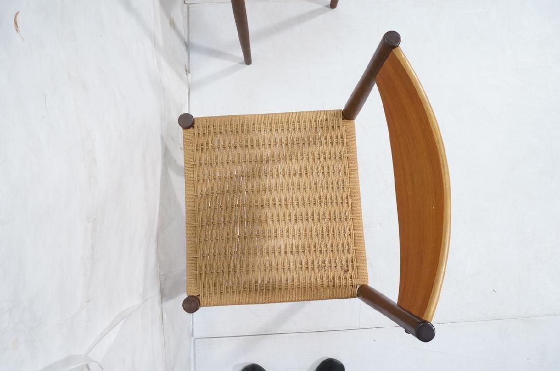Set 4 Danish Modern Teak Dining Chairs. Woven rus - 7