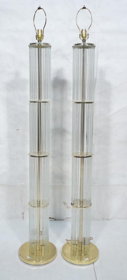 Pr Modernist Brass Glass Prism Floor Lamps. Light