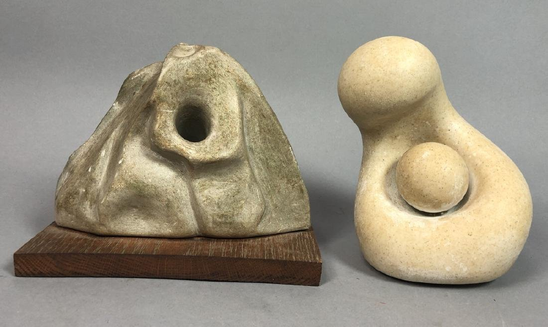 2pc Organic Modern Sculptures. 1) carved stone mo