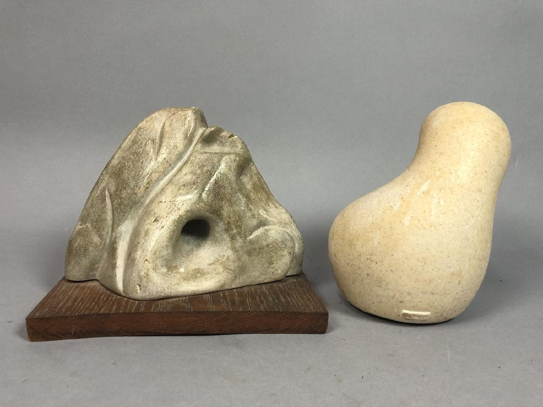 2pc Organic Modern Sculptures. 1) carved stone mo - 2