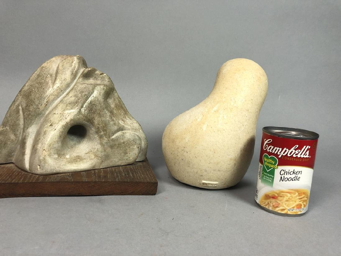 2pc Organic Modern Sculptures. 1) carved stone mo - 3