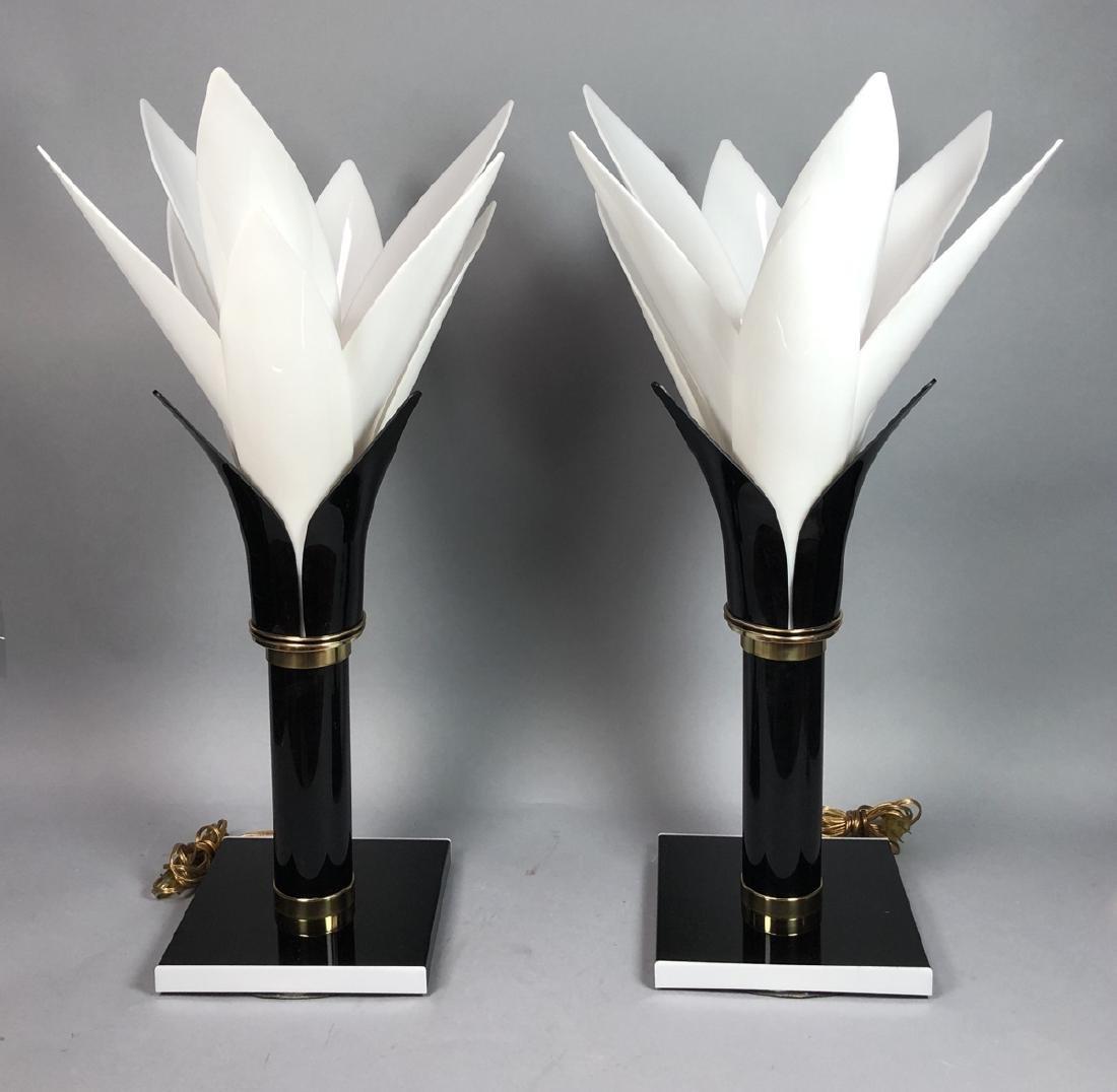 Pr ROUGIER  Molded Plastic Petal Table Lamps. Mod