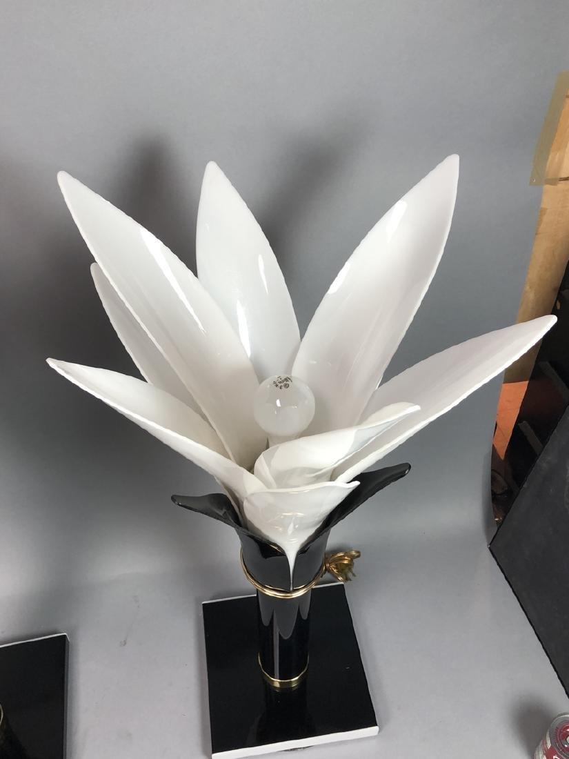 Pr ROUGIER  Molded Plastic Petal Table Lamps. Mod - 6