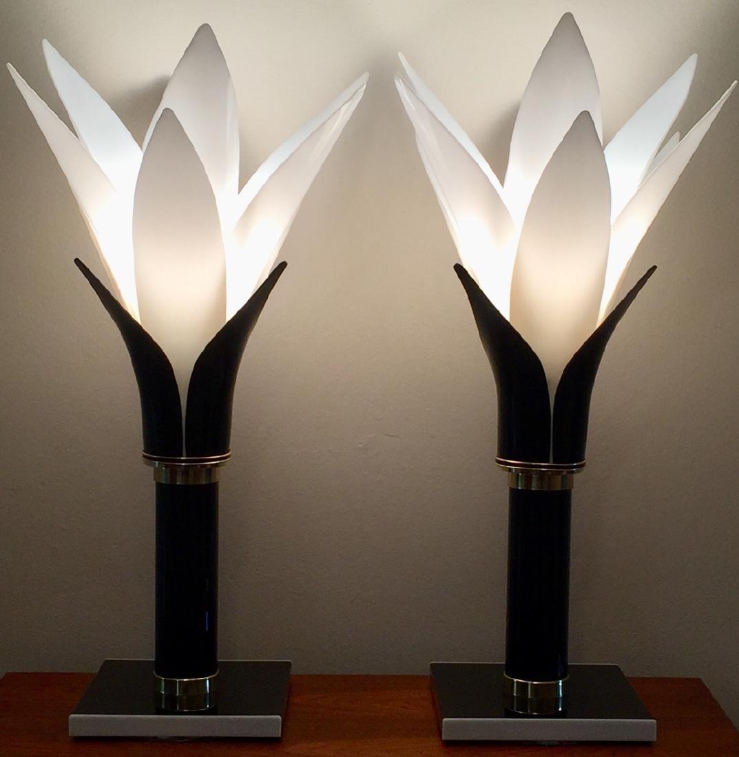 Pr ROUGIER  Molded Plastic Petal Table Lamps. Mod - 7