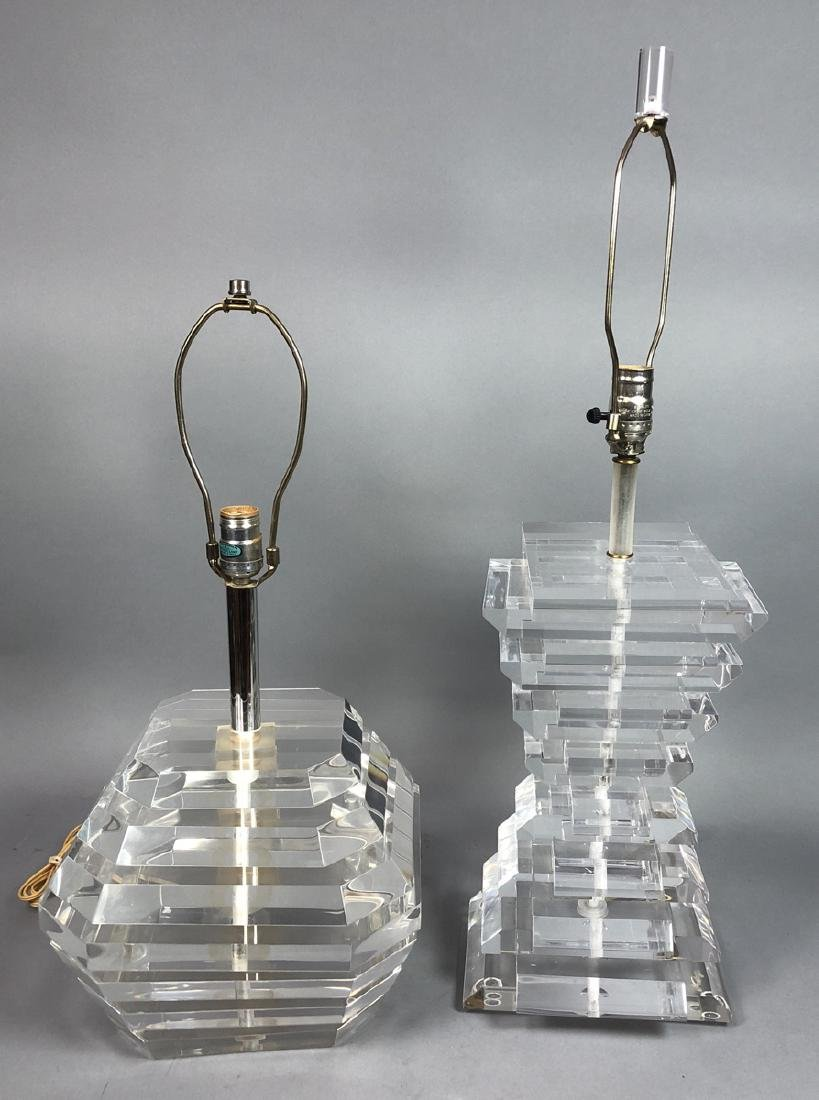 2 Stacked Lucite Modern Table Lamps. 1) signed ta