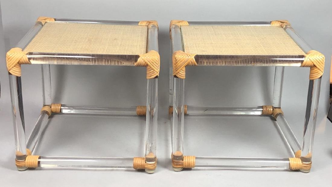 Pr Lucite Rod Wrapped Rattan Side Tables. Thick l