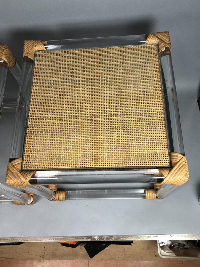 Pr Lucite Rod Wrapped Rattan Side Tables. Thick l - 3