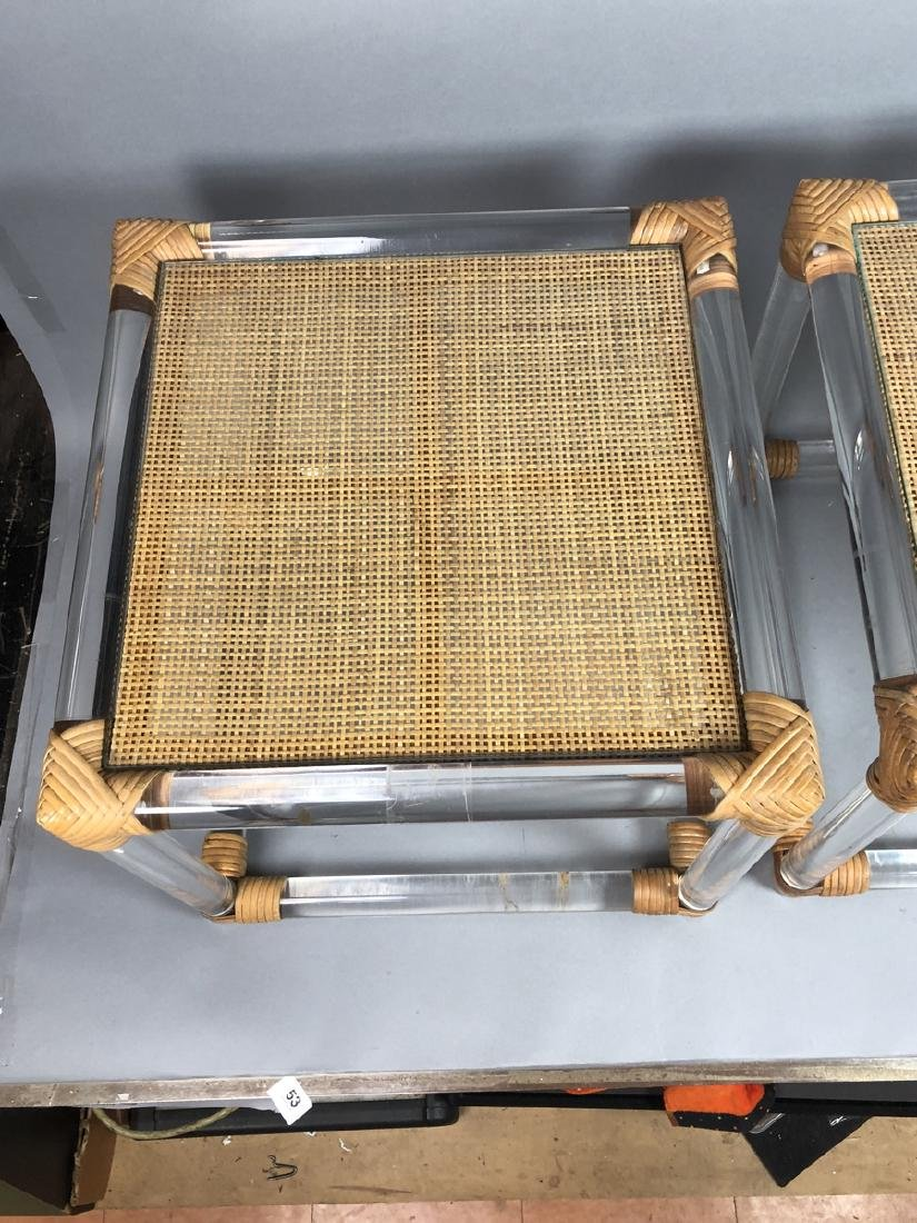 Pr Lucite Rod Wrapped Rattan Side Tables. Thick l - 4