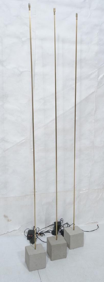 Set 3 Modern Concrete & Brass Floor Lamps. Minima
