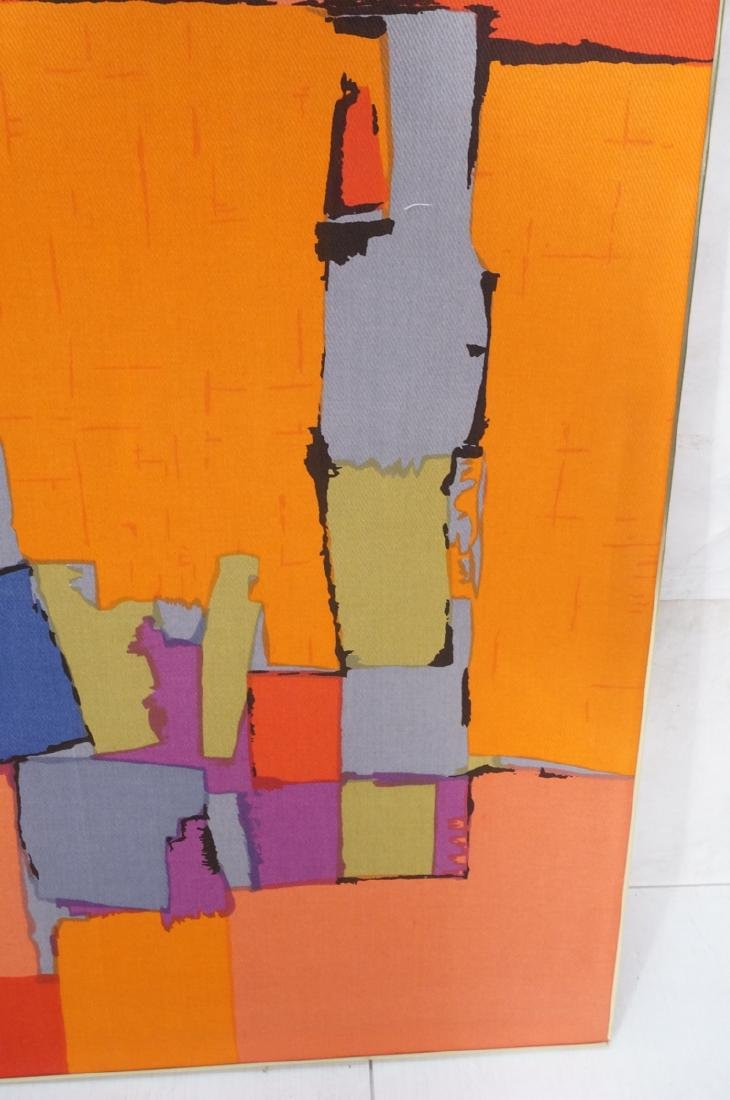 Modernist Abstract Framed Fabric. Colorful block - 4