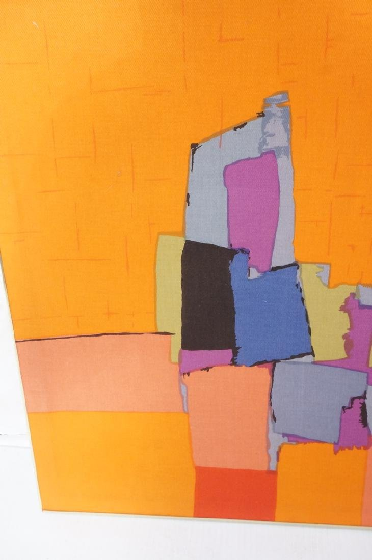 Modernist Abstract Framed Fabric. Colorful block - 5