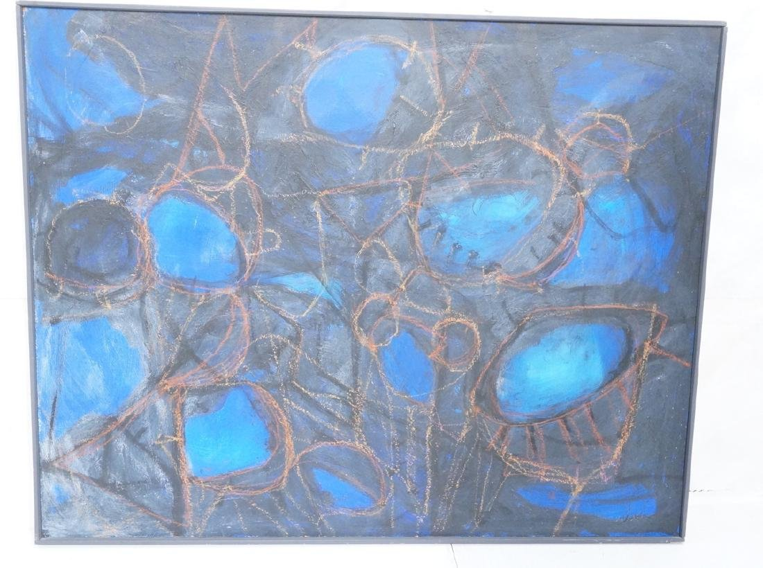 Modernist Abstract Acrylic Painting. Blue ground