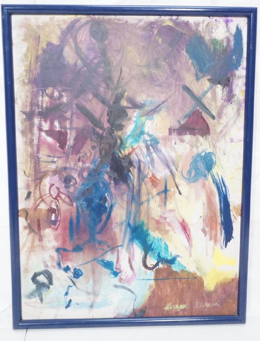 Signed Modernist Abstract Oil Painting. Colorful
