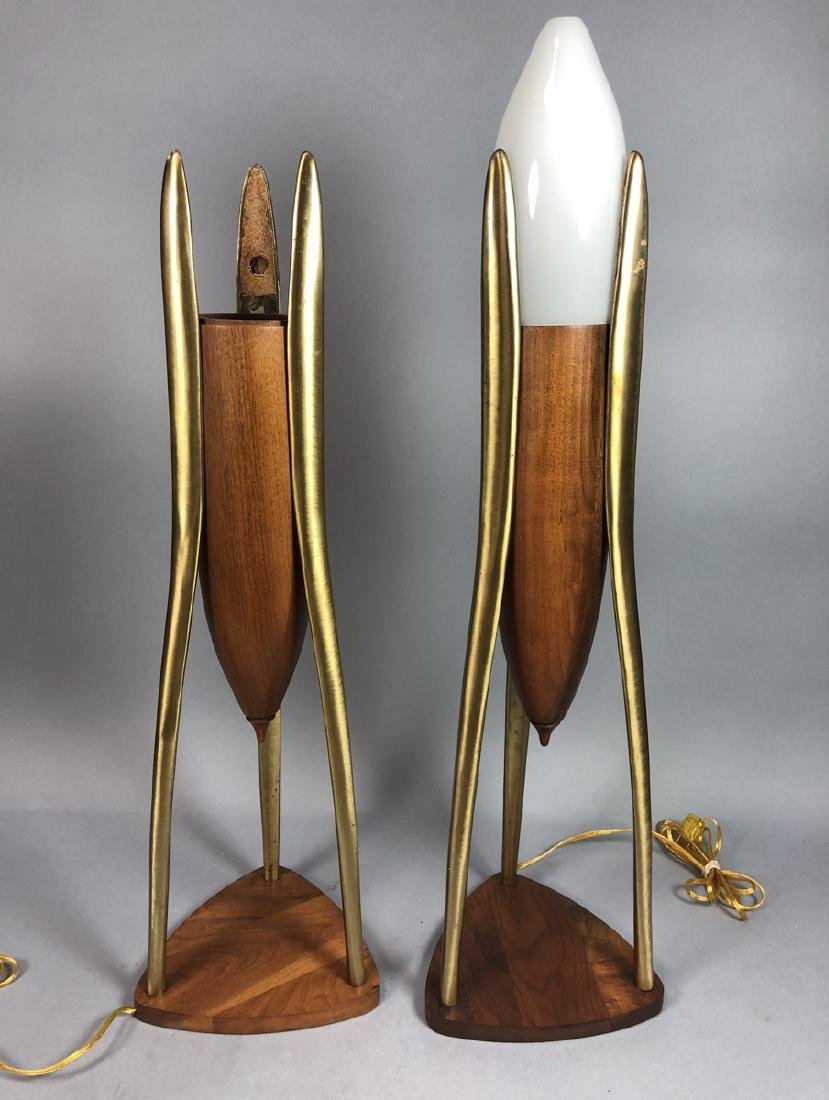 Pr Walnut & Brass Modernist Lamps. Space Age Mode