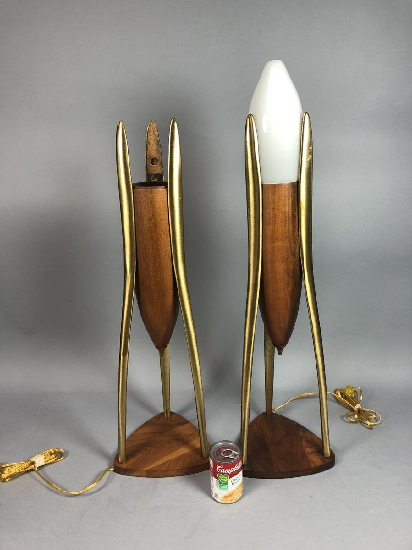 Pr Walnut & Brass Modernist Lamps. Space Age Mode - 7