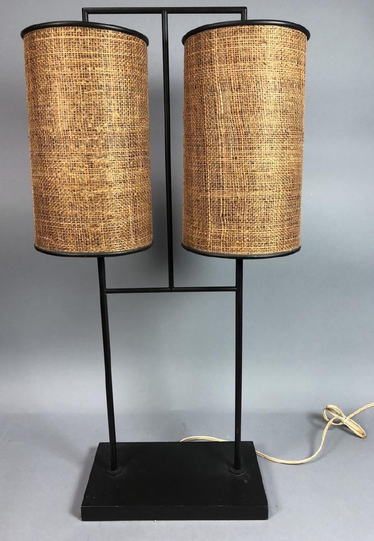 Stylish Modernist Black Metal Table Lamp. Double