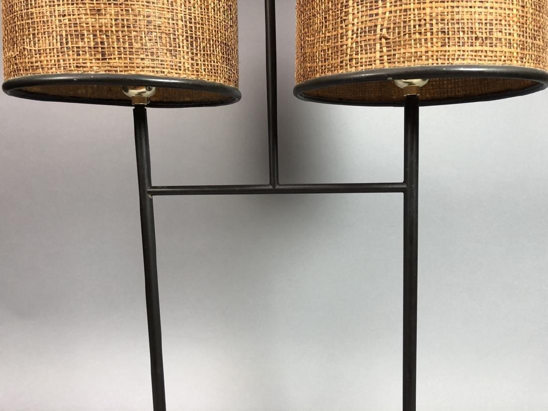 Stylish Modernist Black Metal Table Lamp. Double - 3