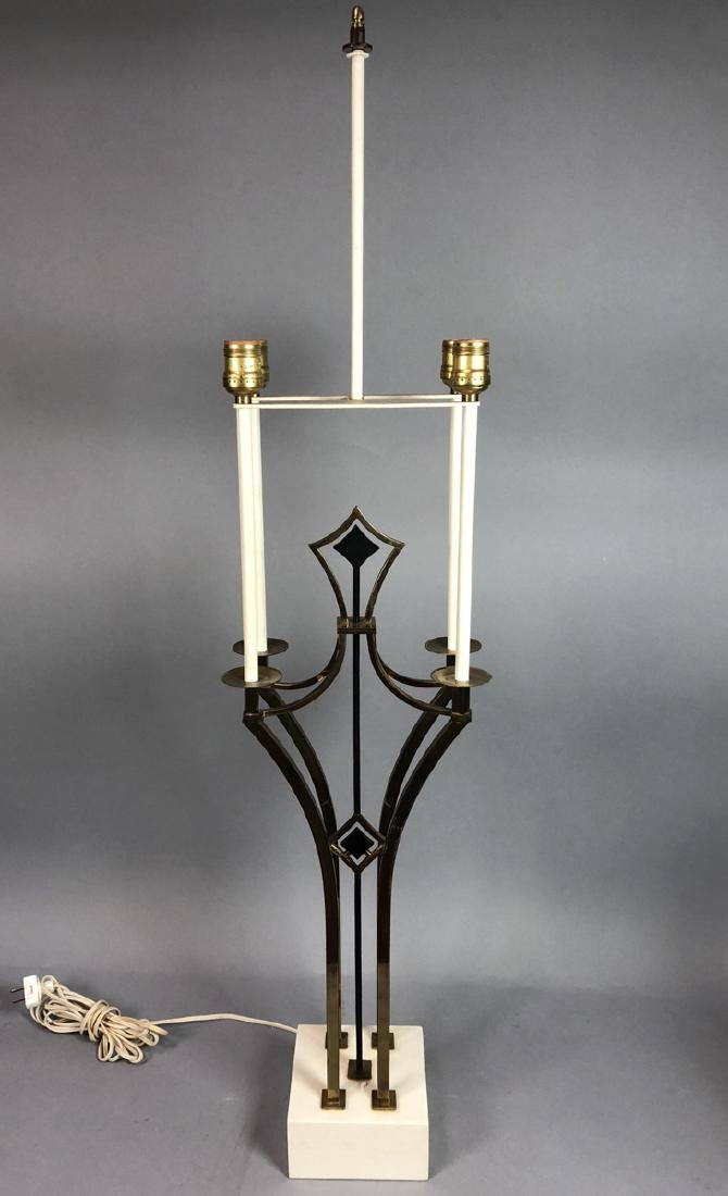 Parzinger Style Brass Candle Form Table Lamp. Fou