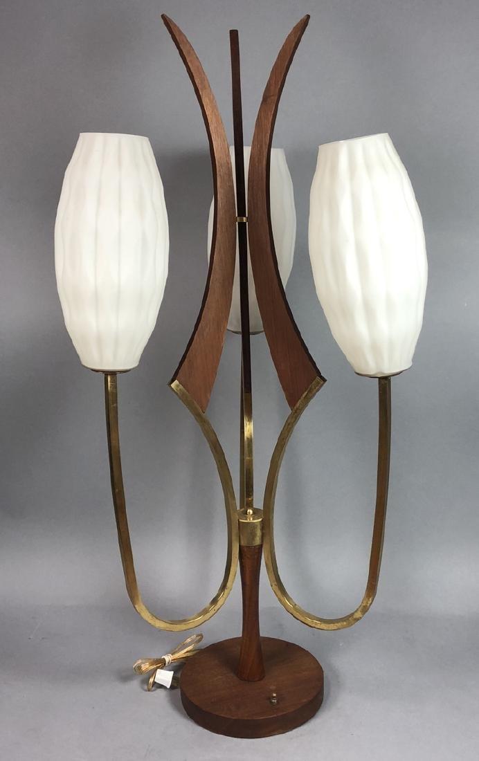 70s Modern Walnut Brass Table Lamp. Walnut pedest