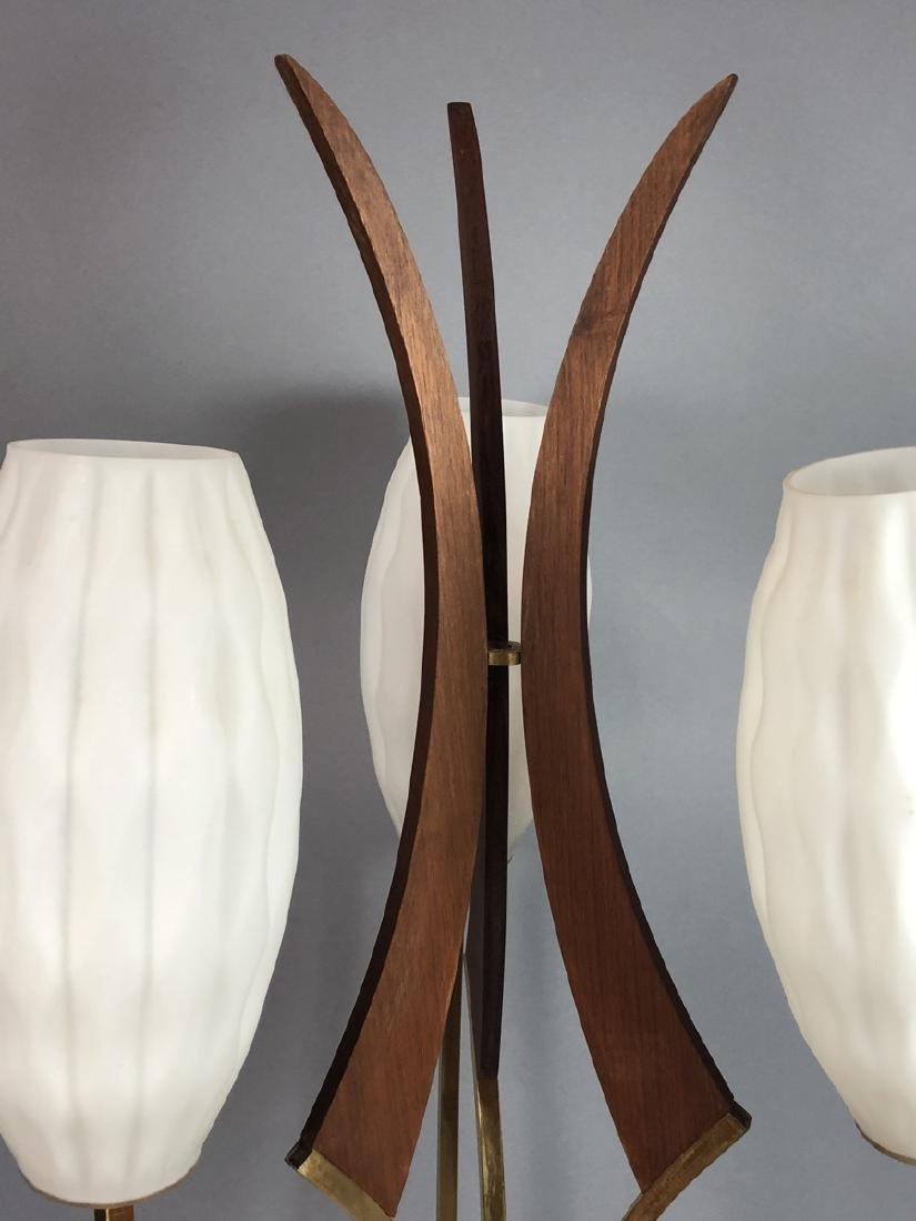 70s Modern Walnut Brass Table Lamp. Walnut pedest - 2