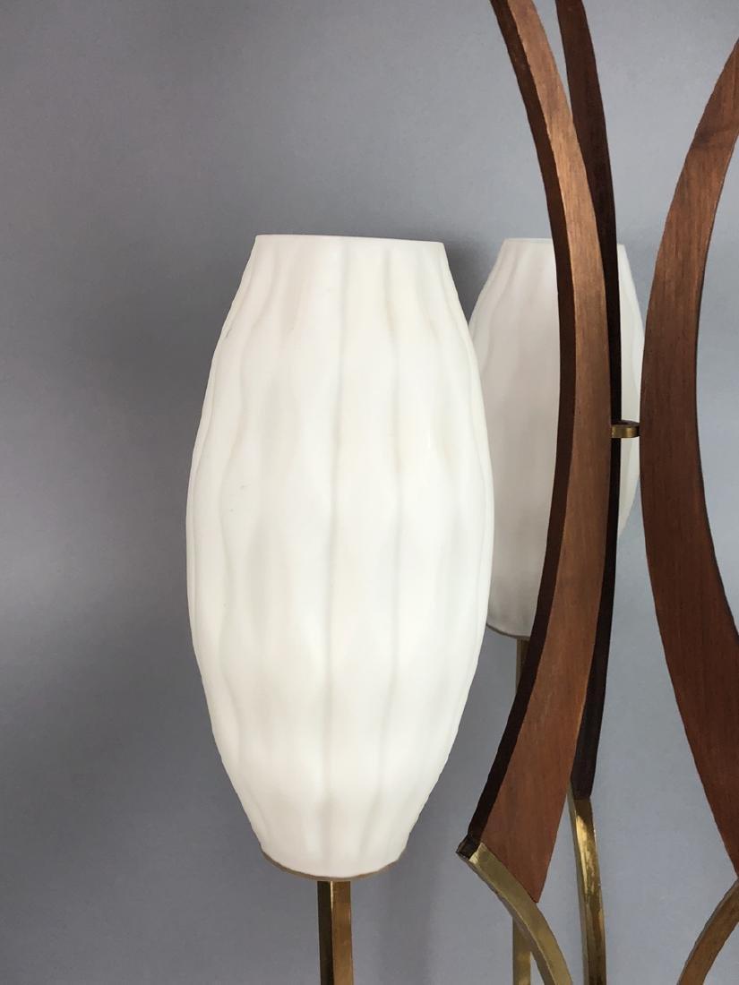 70s Modern Walnut Brass Table Lamp. Walnut pedest - 3