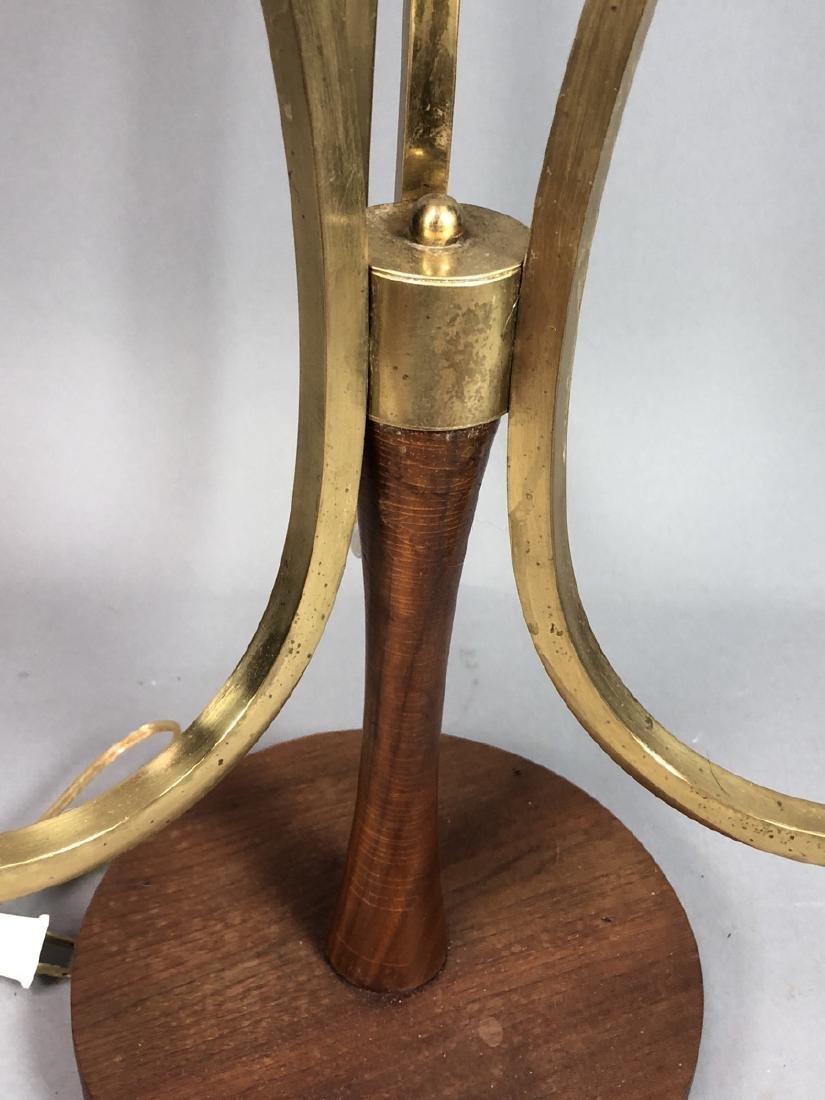 70s Modern Walnut Brass Table Lamp. Walnut pedest - 5