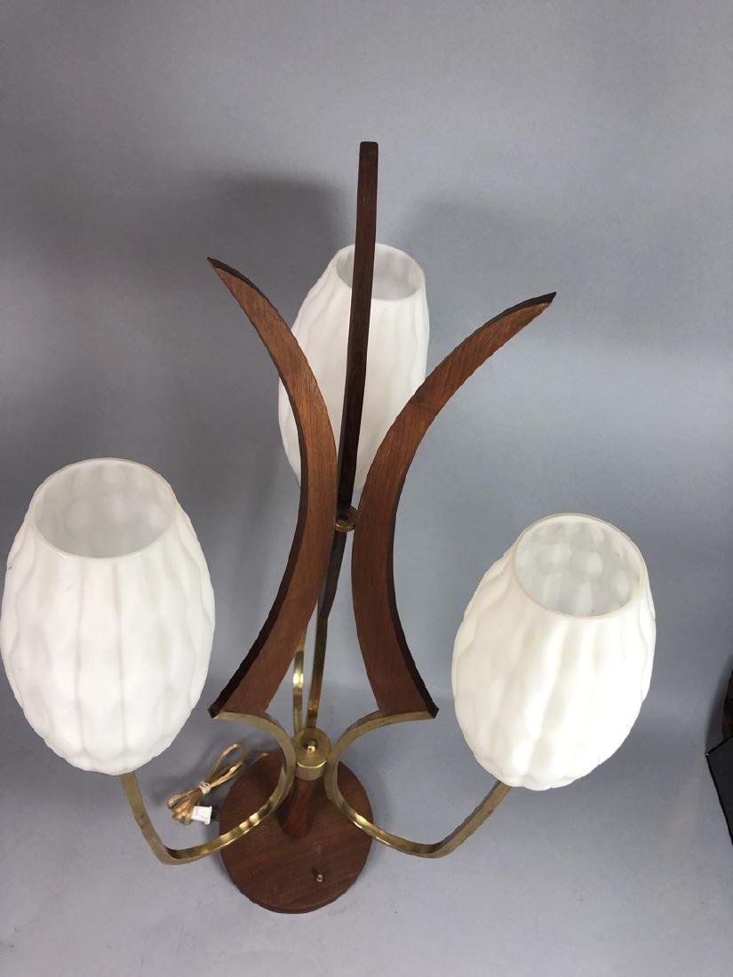 70s Modern Walnut Brass Table Lamp. Walnut pedest - 7