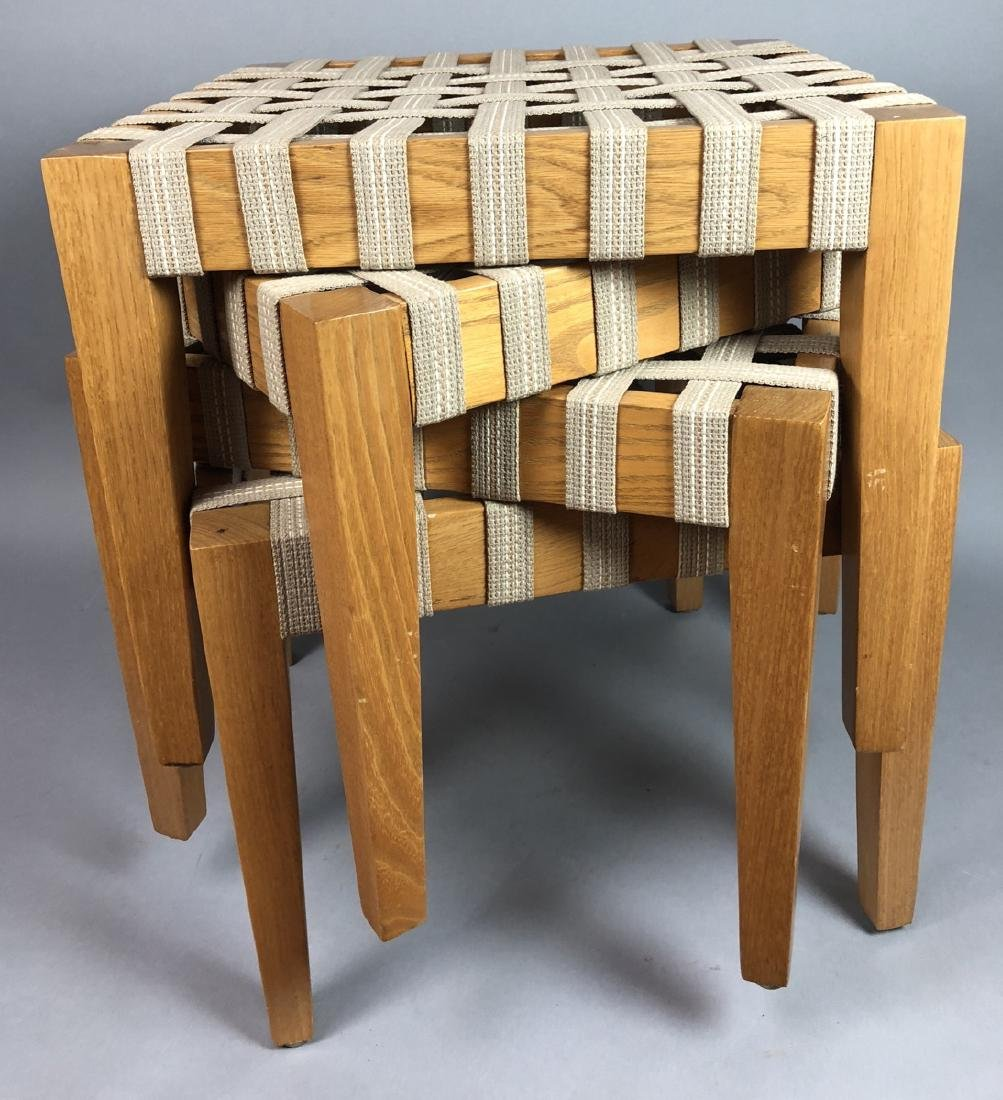 Set 4 Modern Square Stacking Stool Benches. Wood