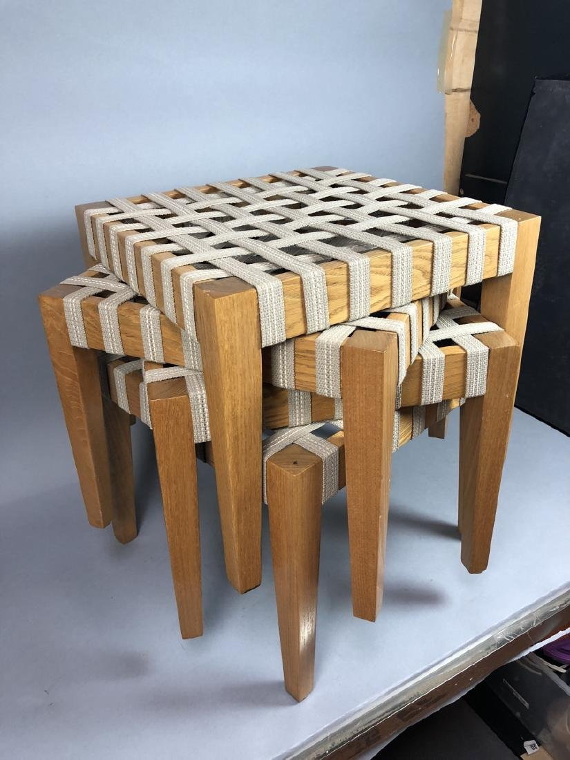 Set 4 Modern Square Stacking Stool Benches. Wood - 2