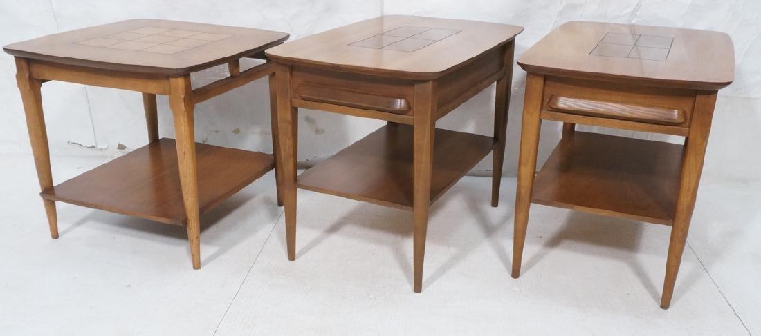 3pc Stanley American Modern Walnut Tables.